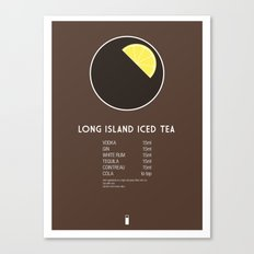 Long Island Iced Tea Cocktail Recipe Poster (Metric) Canvas Print