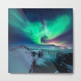 Aurora Borealis Over A Waterfall Metal Print