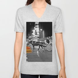 NYC - Yellow Cabs - Horse Carriage Unisex V-Neck
