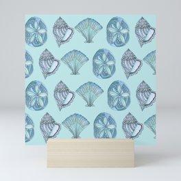 Watercolor Seashells Aqua Background  Mini Art Print