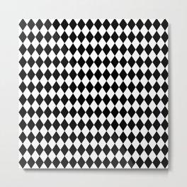 Classic Black and White Harlequin Diamond Check Metal Print