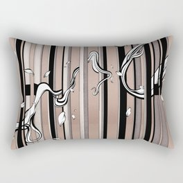 "Typography x illustration ""FLIP"" incorporate with abstract lines and flowers' movement Beige Pink Rectangular Pillow"
