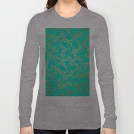 Glam Faux Gold and Teal Triangle Geometric Long Sleeve T-shirt