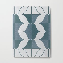 Mid-Century Abstract Geometric Watercolor Metal Print