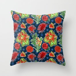 Australian Native Floral Print Throw Pillow