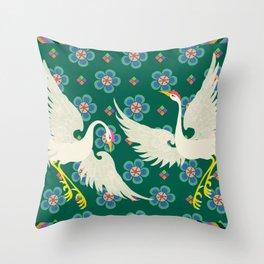 Colourful Oriental Cranes Decoration Patterns Throw Pillow