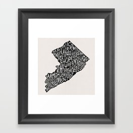 Warren County, New Jersey Map Framed Art Print