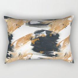 Artistic black white gold watercolor brushstrokes Rectangular Pillow