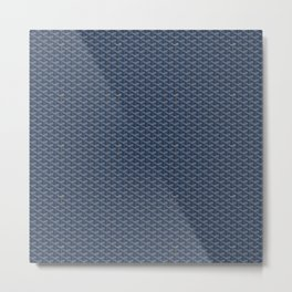 Goyard Pattern Dark Blue Metal Print