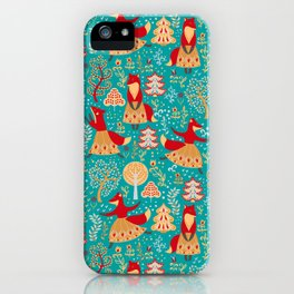 Dancing foxes in a fairy forest. Folk Art. Seamless pattern. Green background. iPhone Case