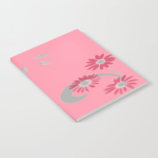 Floral Scroll Design - Strawberry Red Notebook