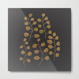 Gold Eucalyptus Leaves Metal Print