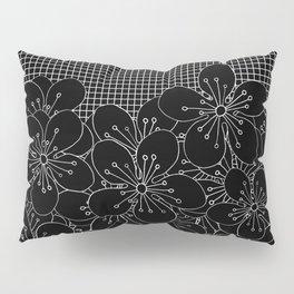 Cherry Blossom Grid Black Pillow Sham