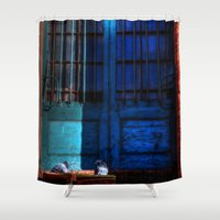 manchester Shower Curtains featuring Manchester Pigeons by Caroline Benzies Photography