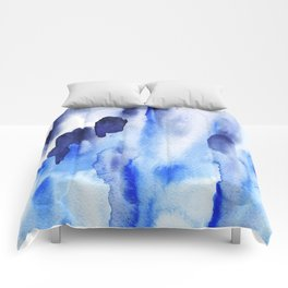 Boho Blue Watercolor Comforters