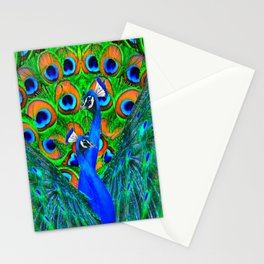 BLUE PEACOCKS PATTERN DESIGN Stationery Cards