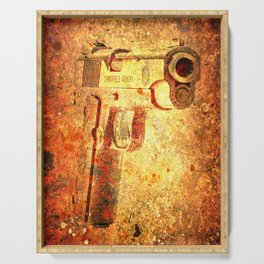 M1911 Muzzle On Rusted Background 3/4 View Serving Tray