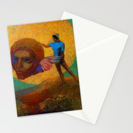 "Odilon Redon ""Figure Holding the Head of an Angel (also known as The Fall of Icarus)"" Stationery Cards"
