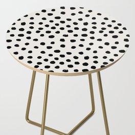 Preppy brushstroke free polka dots black and white spots dots dalmation animal spots design minimal Side Table