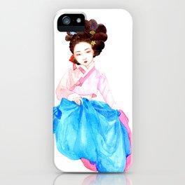 Watercolor Korean beauty - Pink&Blue iPhone Case