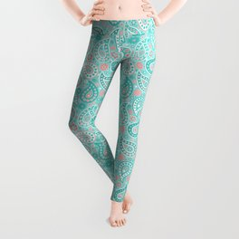 Turquoise and Coral Paisley Leggings