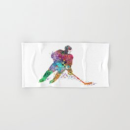Girl Ice Hockey Sports Art Hand & Bath Towel