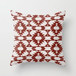 Bright red and white brushed tribal kilim pattern Throw Pillow