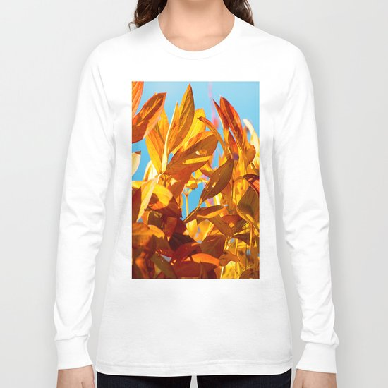 Autumn colors leaves against the blue sky Long Sleeve T-shirt