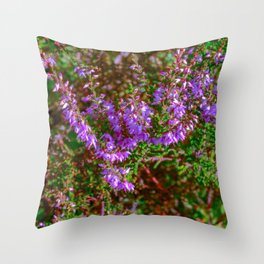 Heather flowers in green leaves Throw Pillow
