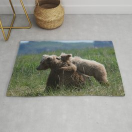 Alaska Grizzly Mother And A Cub In Katmai National Park Rug