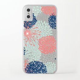 Floral Print - Coral Pink, Pale Aqua Blue, Gray, Navy Clear iPhone Case