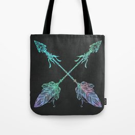 Tribals Arrows Turquoise on Gray Black Tote Bag