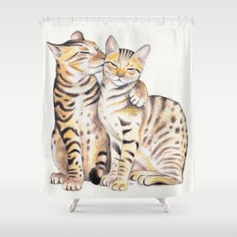 Bengal Cats Love Watercolor Ink Art Shower Curtain