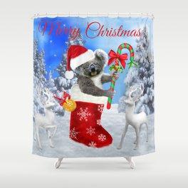 Baby Koala Christmas Cheer Shower Curtain