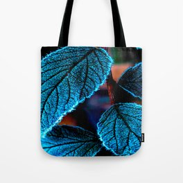 Peacock Blue Leaves Nature Background #decor #society6 #buyart Tote Bag