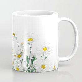 white margaret daisy horizontal watercolor painting Coffee Mug