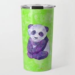 Cute  Purple Panda Bear  on green Travel Mug