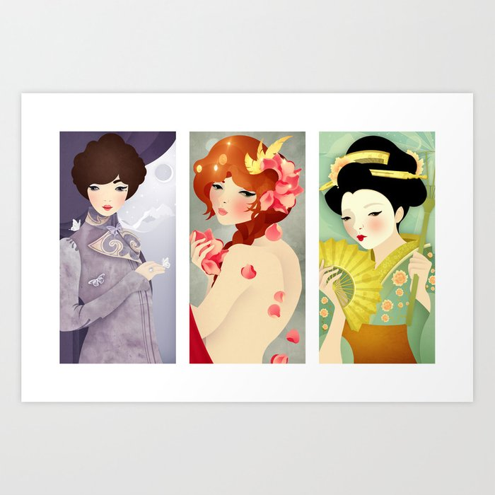 Three: Portrait Triptych Art Print