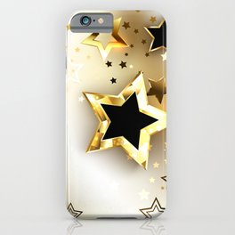 White Background with Gold Stars iPhone Case