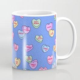 Feminist Valentine Candy Hearts in Blue, Dump Him Coffee Mug