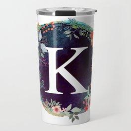 Personalized Monogram Initial Letter K Floral Wreath Artwork Travel Mug