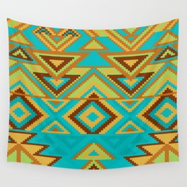 Native Aztec Turquoise Tribal Art Pattern Wall Tapestry