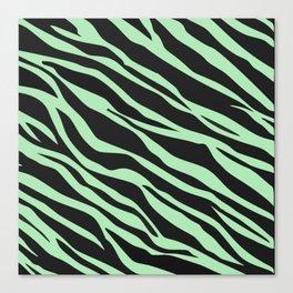 Mint Green Zebra Stripes Canvas Print