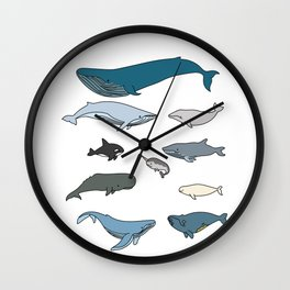 Types Of Whales Wall Clock