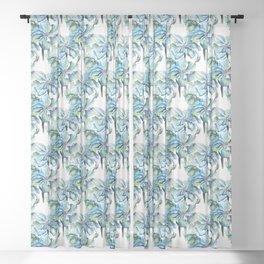 Watercolor Himalayan Blue Poppies Sheer Curtain