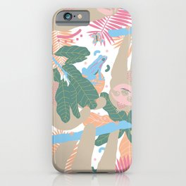 Swingin' Sloths in Pink + White iPhone Case