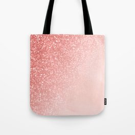 She Sparkles Deep Rose Gold Pastel Pink Luxe Geometric Tote Bag
