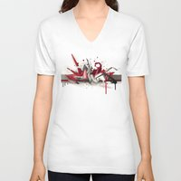 metal V-neck T-shirts featuring Red Metal by DAIM