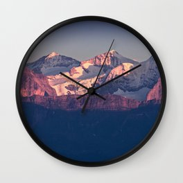 Three Peaks in Violet Sunset Wall Clock
