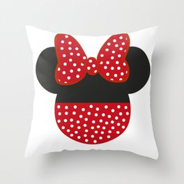 Mouse Ears Red Throw Pillow
